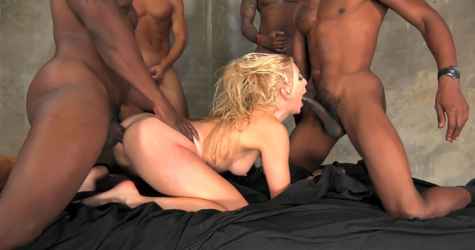 Ashley Fires Interracial Gang Bang
